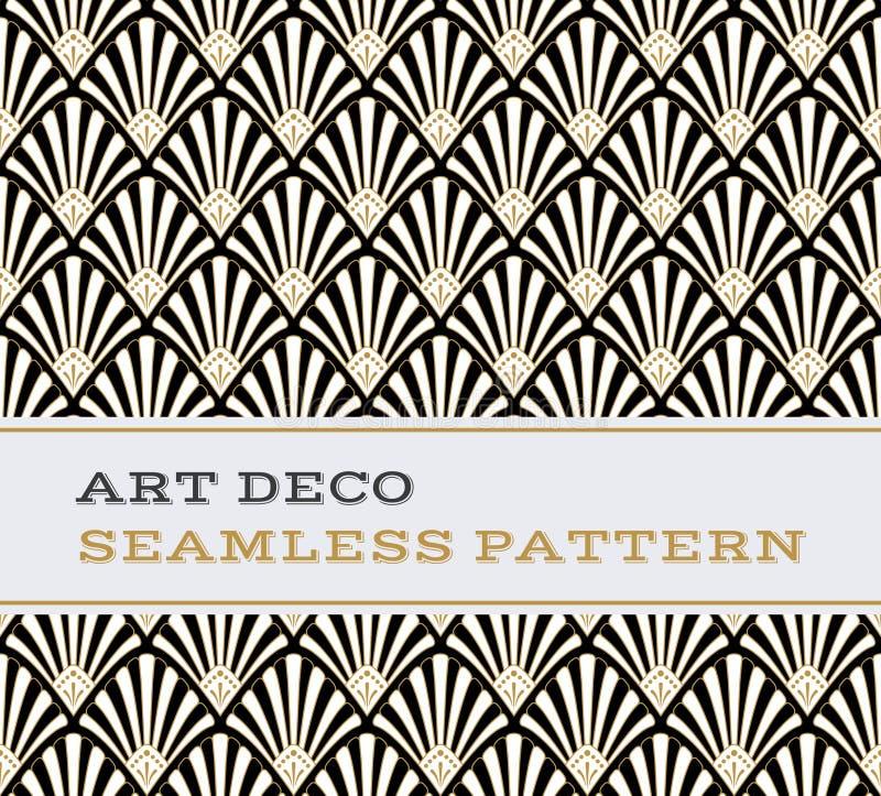 Naadloze het patroon zwarte witte en gouden kleuren 03 van Art Deco royalty-vrije illustratie