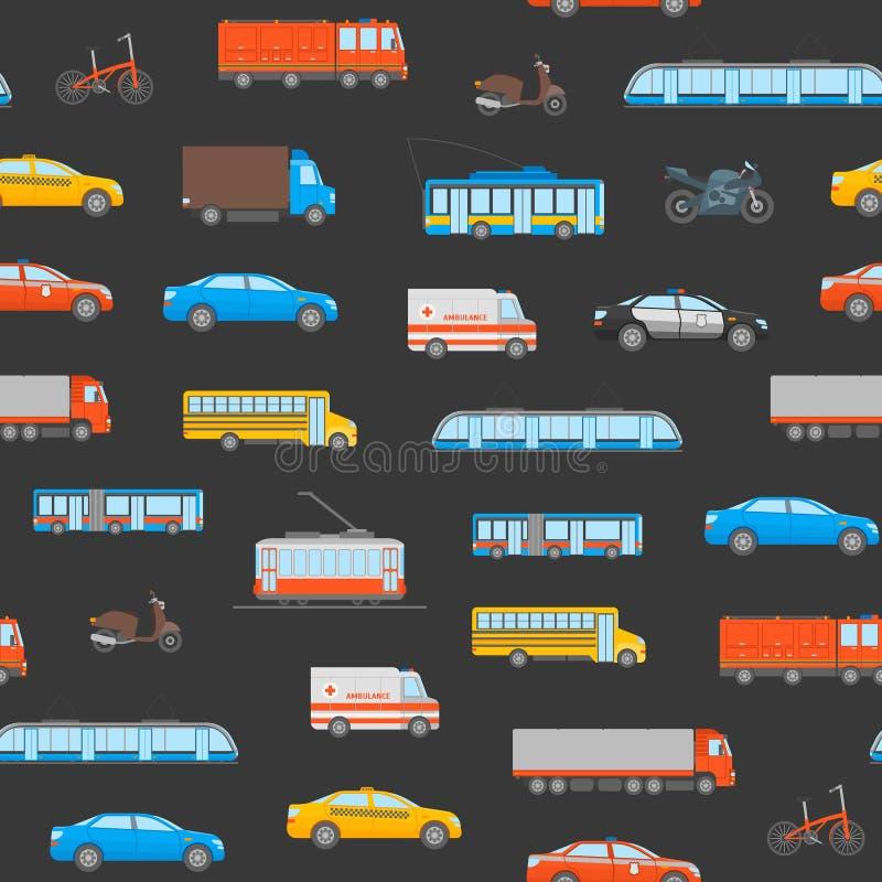 Naadloze het Patroonachtergrond van het beeldverhaalstadsvervoer Vector royalty-vrije illustratie