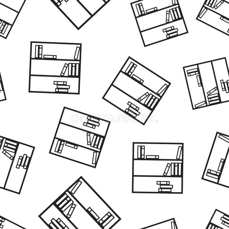 Naadloze het patroonachtergrond van het boekenkastmeubilair Zaken vlakke ve stock illustratie