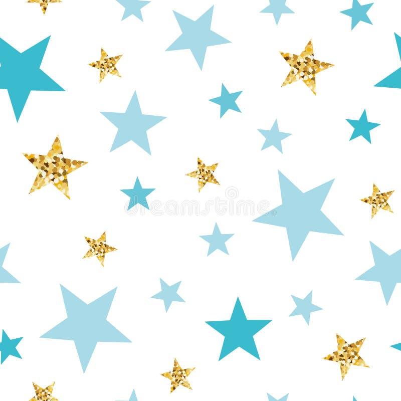 Naadloze het patroonachtergrond van de krabbelster Het blauwe gouden sterren Abstracte goud schittert sterren naadloze textuur vector illustratie