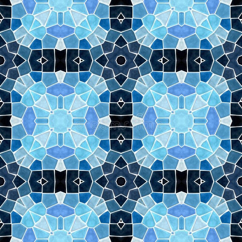 Naadloze het patroonachtergrond van de mozaïekcaleidoscoop - licht en donkerblauw die met witte pleister wordt gekleurd vector illustratie