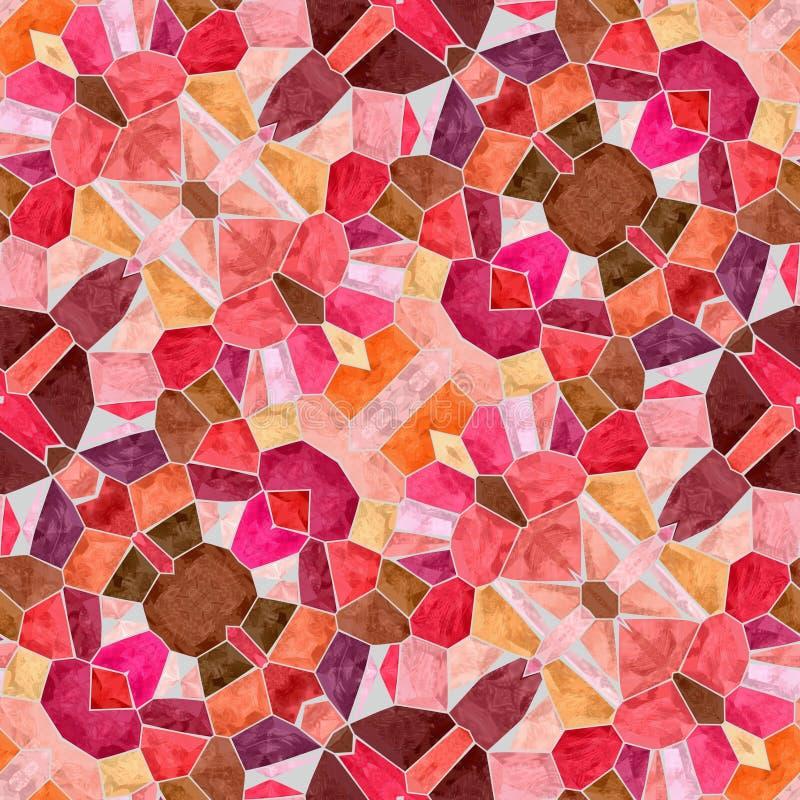 Naadloze het patroonachtergrond van de mozaïekcaleidoscoop - oud roze, gekleurde zalm oranje, rode, purpere, violette, bruine, be vector illustratie