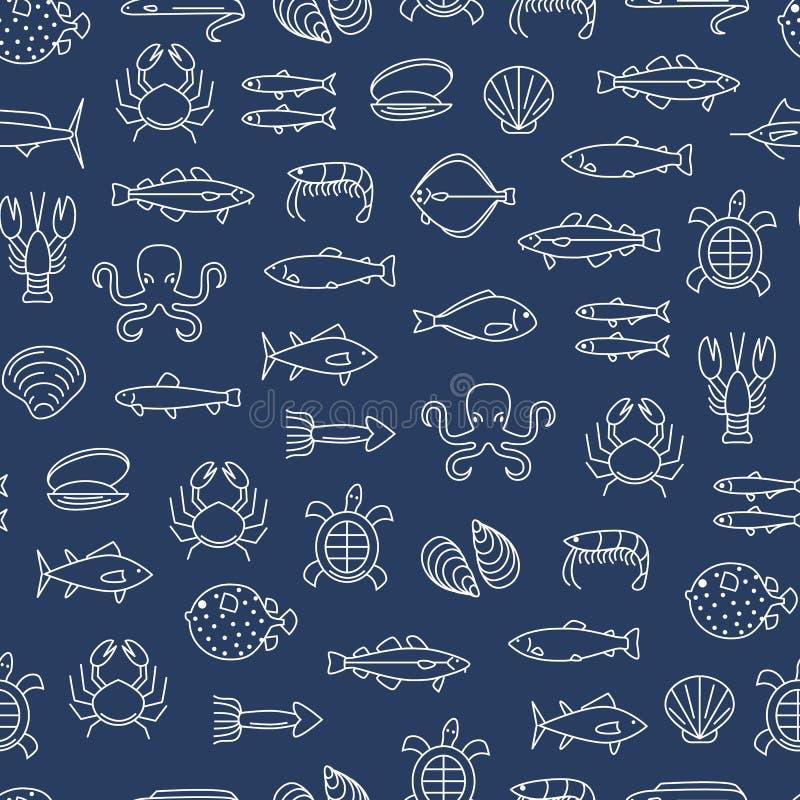 Naadloze het Patroonachtergrond van de overzees Voedsel Dunne Lijn Vector royalty-vrije illustratie