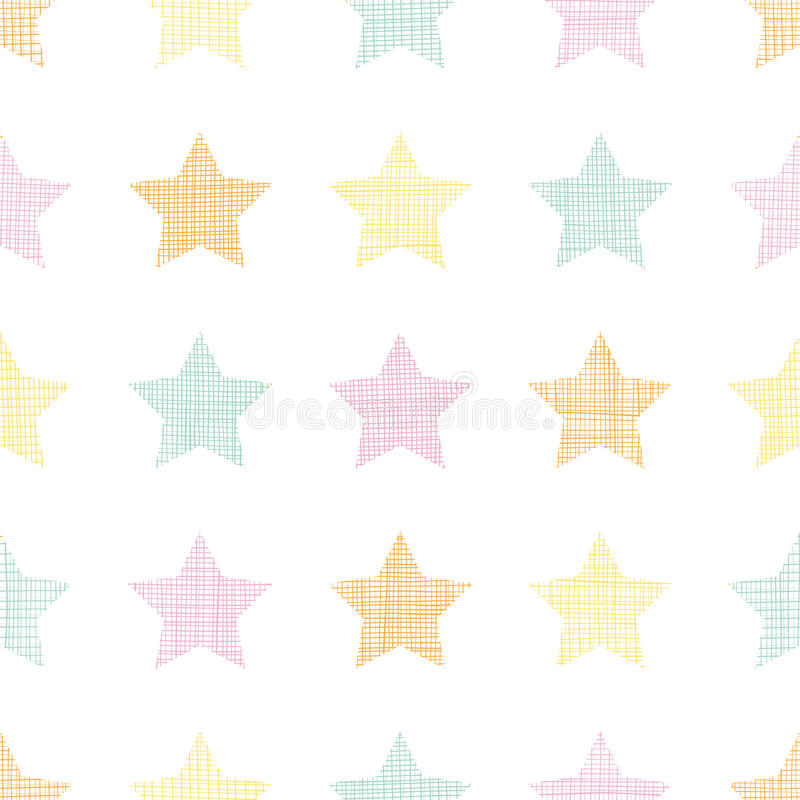 Naadloze het patroonachtergrond van de sterren textiel geweven pastelkleur stock illustratie
