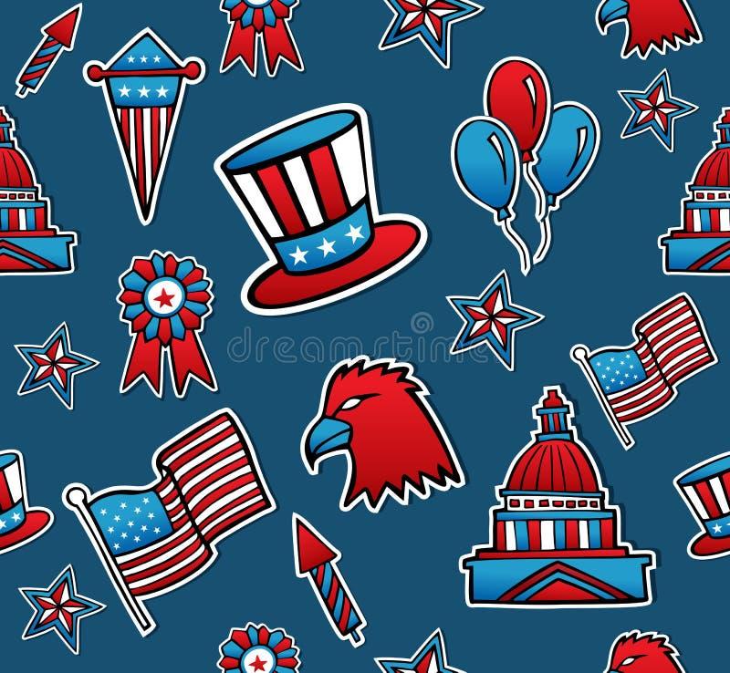 Naadloze het patroonachtergrond van de V.S. royalty-vrije illustratie