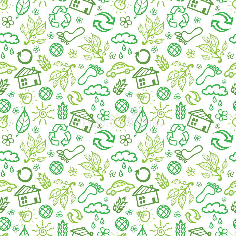 Naadloze het patroonachtergrond van ecologiesymbolen vector illustratie