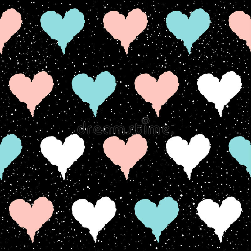 Naadloze het patroonachtergrond van het hart Doorboort het krabbel met de hand gemaakte blauw, royalty-vrije illustratie