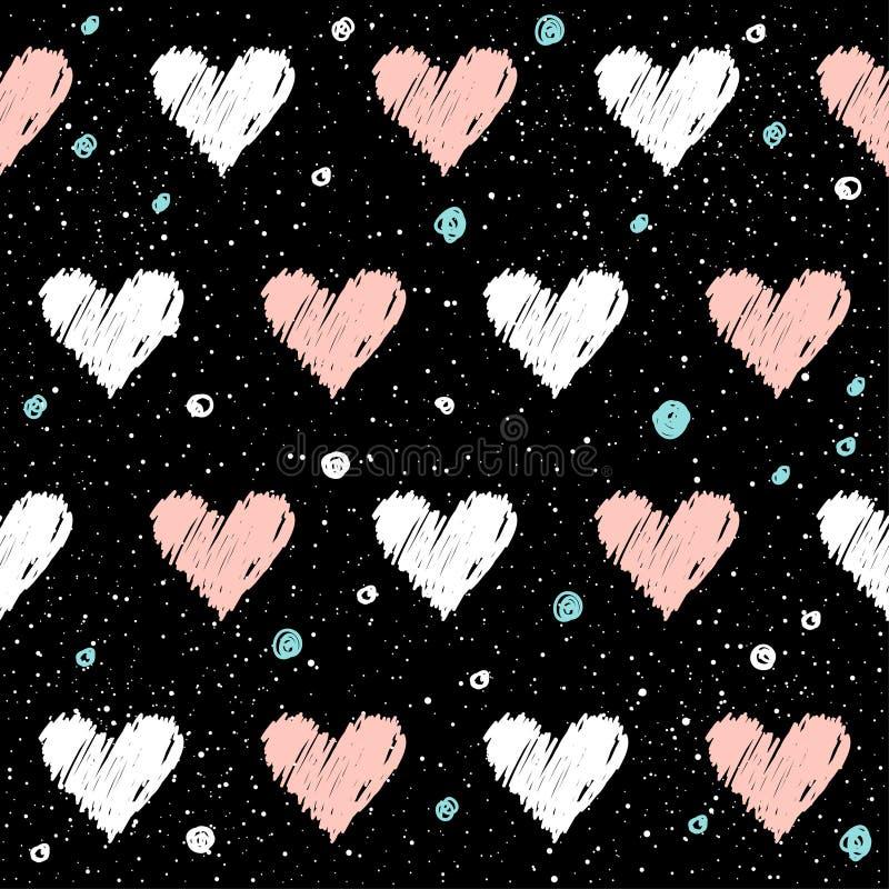 Naadloze het patroonachtergrond van het hart Krabbel met de hand gemaakt roze en whit stock illustratie