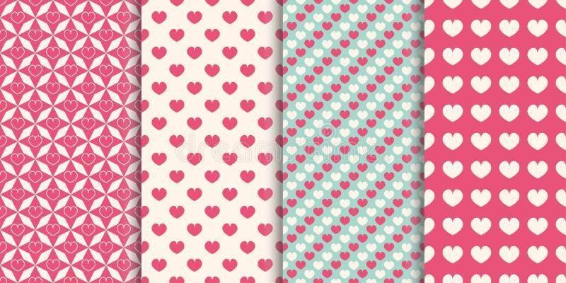 Naadloze het patroonachtergrond van het hart Reeks verschillende patronen voor omslag, vakantiedrukken, behang, plakboek, huwelij royalty-vrije illustratie