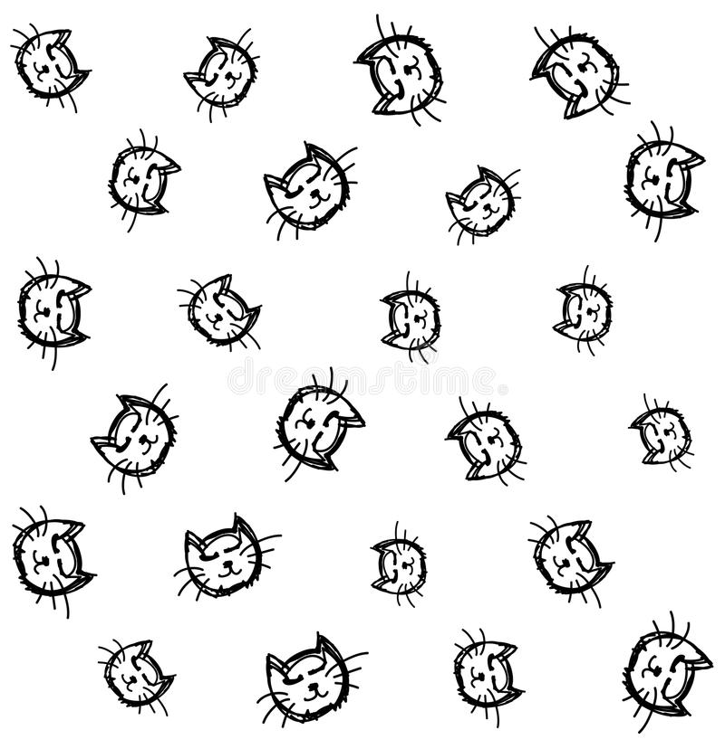 Naadloze het patroonachtergrond van katten hoofdkrabbels vector illustratie