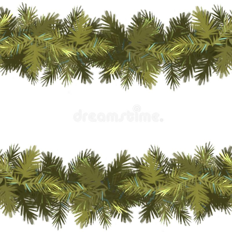 Naadloze het patroonachtergrond van Kerstmis Nette groene die slinger op witte achtergrond wordt geïsoleerd Nieuw jaar stock illustratie