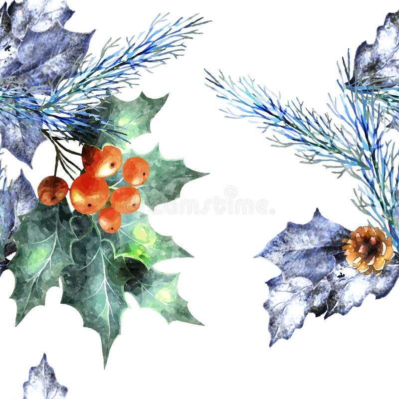 Naadloze het patroonachtergrond van Kerstmiselementen royalty-vrije illustratie