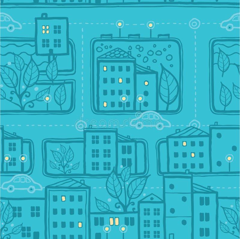 Naadloze het patroonachtergrond van stadsstraten royalty-vrije illustratie