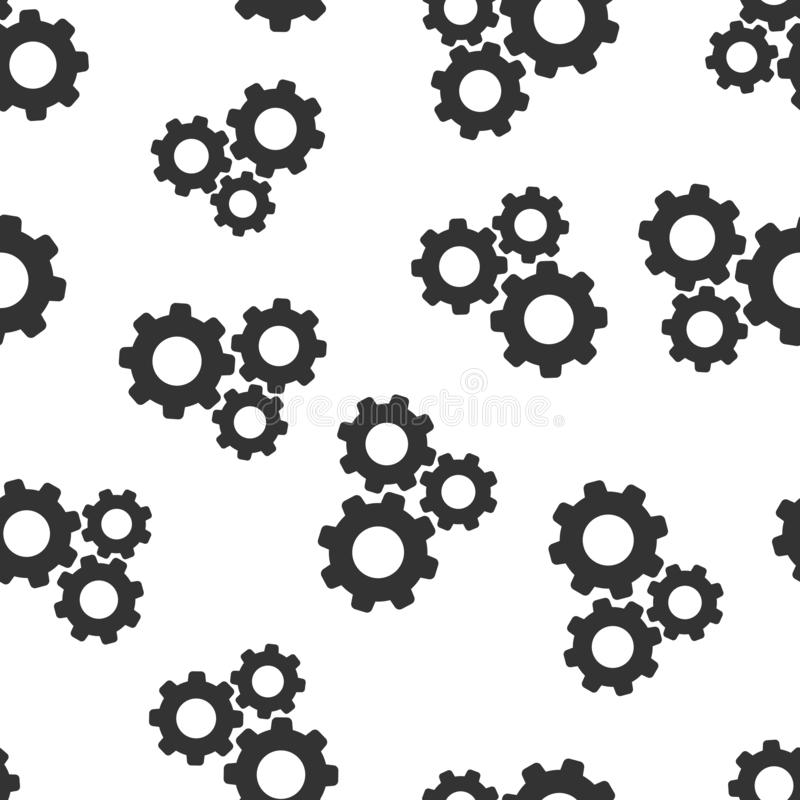Naadloze het patroonachtergrond van het toestel vectorpictogram De illustratie van het radertjewiel op witte achtergrond Van het  royalty-vrije illustratie