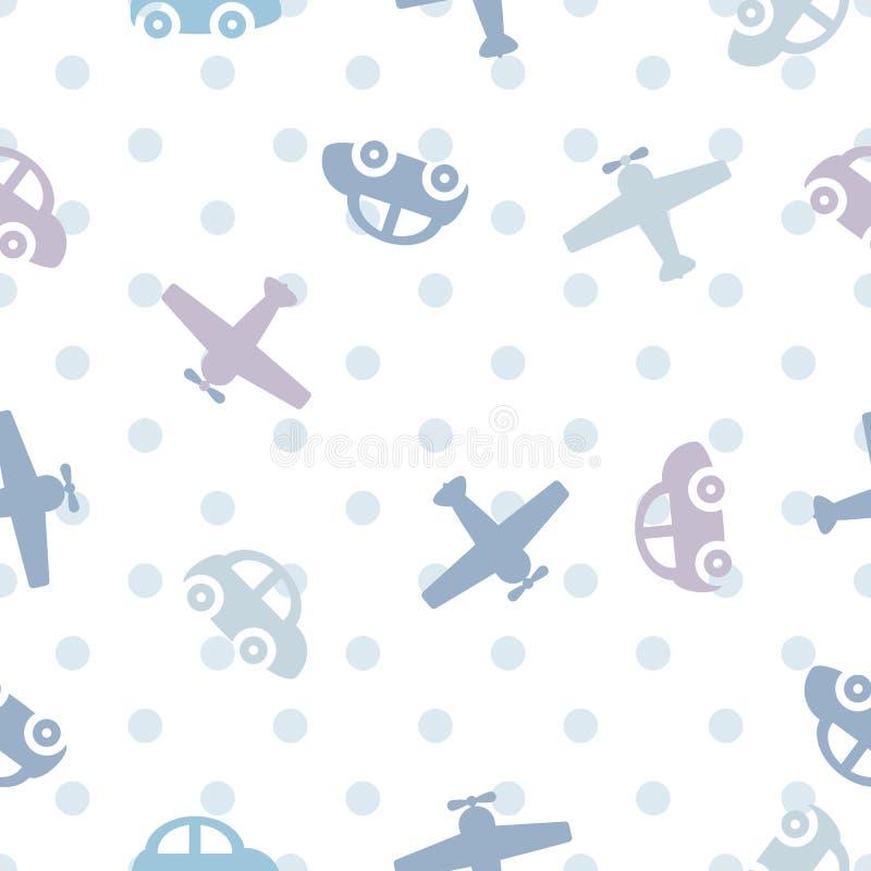 Naadloze het patroonauto's en vliegtuigen van kleurenkinderen ` s vector illustratie