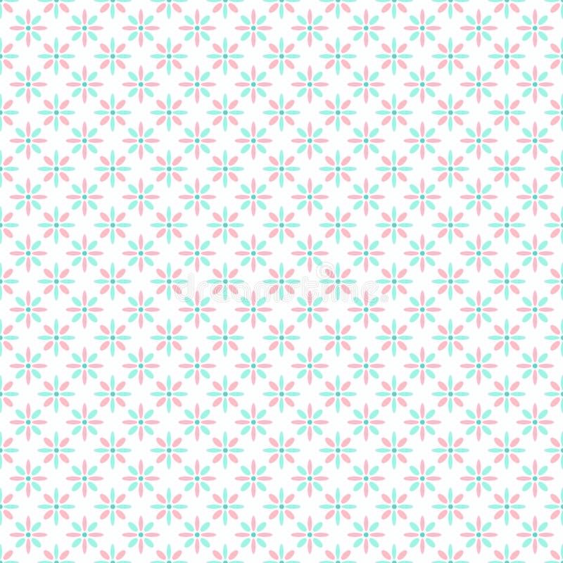 Naadloze het patroongift die van de pastelkleur roze en groene bloem pape verpakken stock illustratie