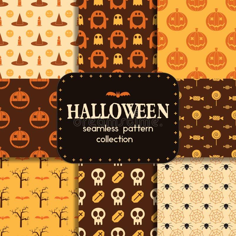 Naadloze het Patrooninzameling van Halloween royalty-vrije illustratie