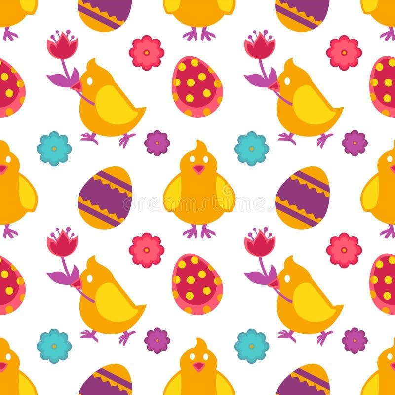 Naadloze het patroonkip van Pasen met bloem en geschilderde eieren stock illustratie