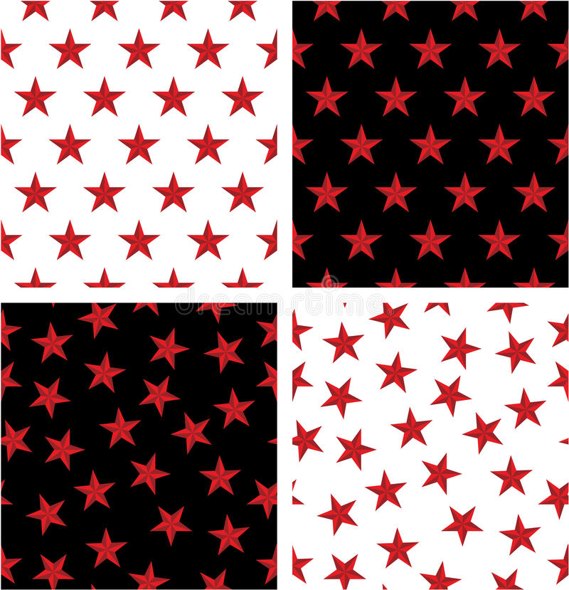 Naadloze het Patroonreeks van de rode Kleuren Zeevaartster vector illustratie
