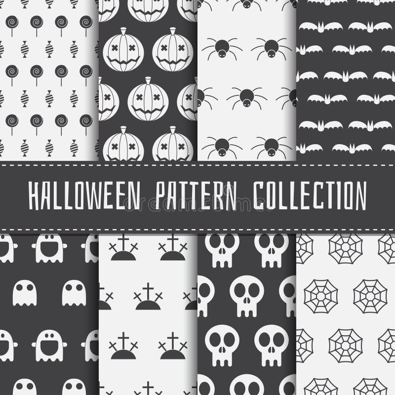 Naadloze het patroonreeks van Halloween vector illustratie