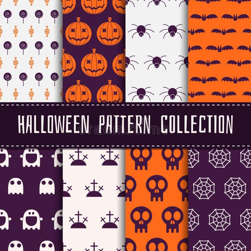 Naadloze het patroonreeks van Halloween stock illustratie