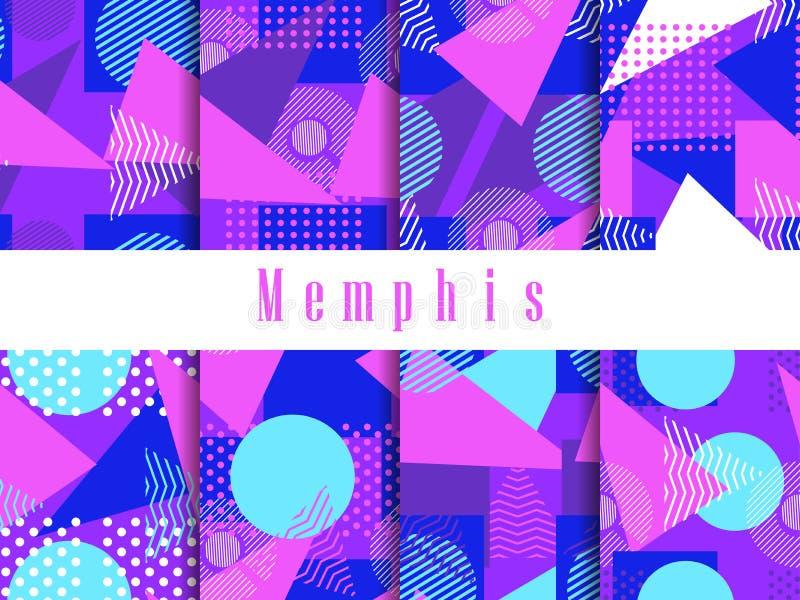 Naadloze het patroonreeks van Memphis Geometrische elementen Memphis in de stijl van de jaren '80 Driehoeken, gestippelde cirkels vector illustratie