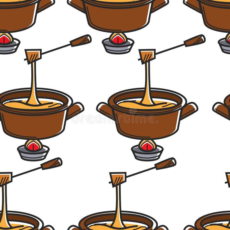 Naadloze het patroonsteelpan en vork van de fondueemmentaler stock illustratie