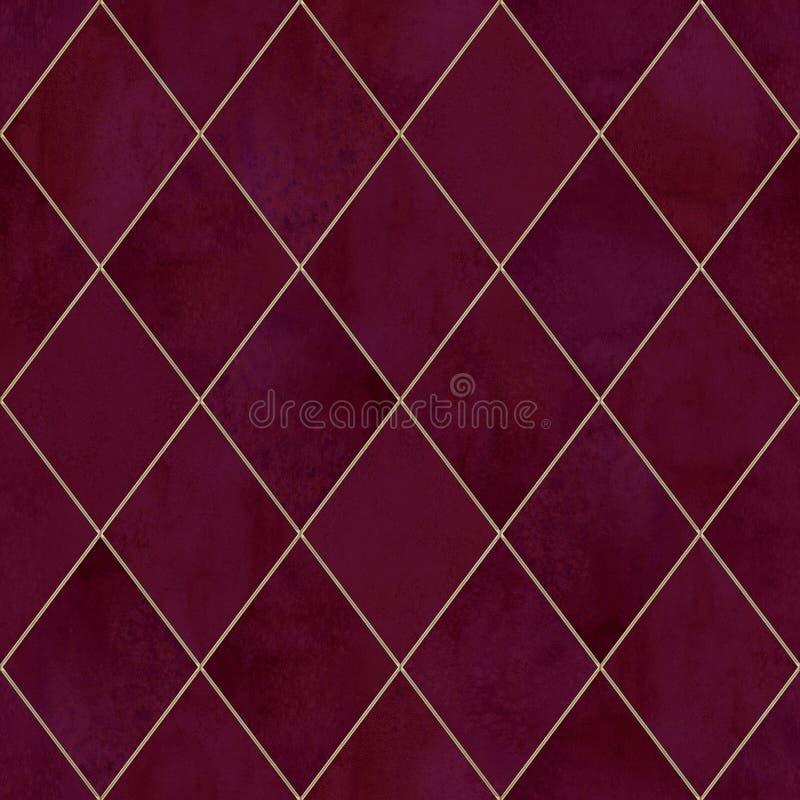 Naadloze het patroontextuur van de Argyle geometrische abstracte waterverf stock foto's