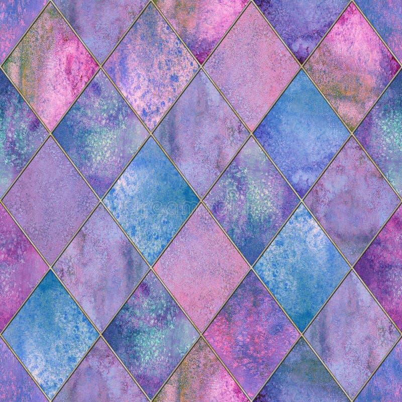 Naadloze het patroontextuur van de Argyle geometrische abstracte waterverf stock afbeeldingen