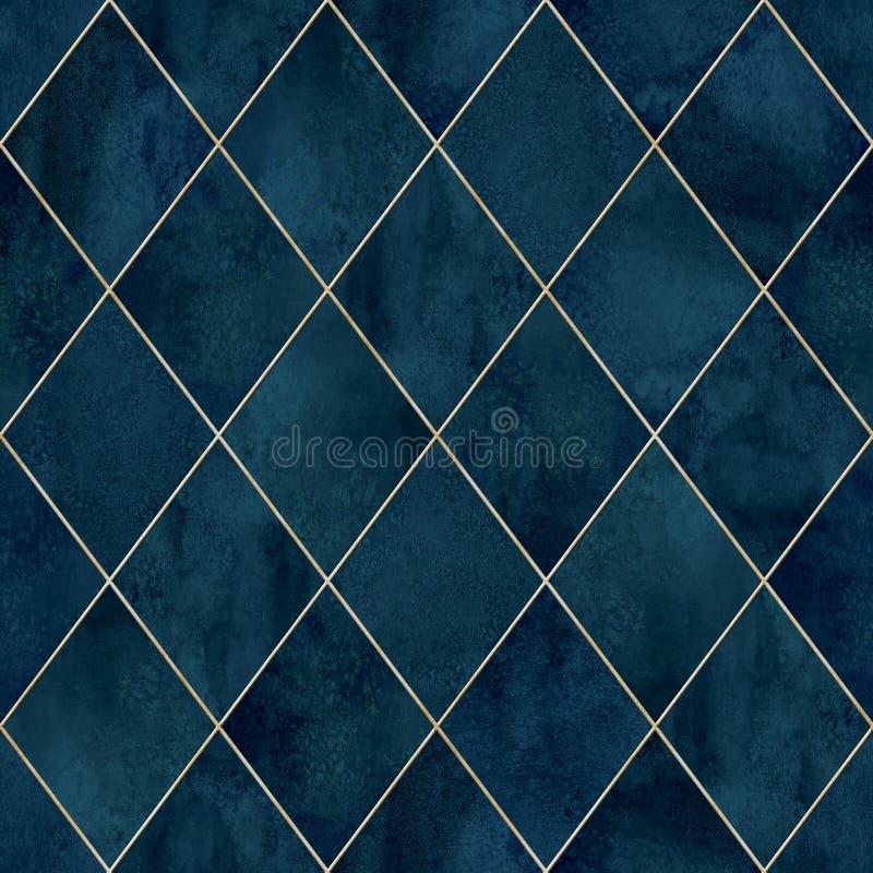 Naadloze het patroontextuur van de Argyle geometrische abstracte waterverf royalty-vrije stock fotografie