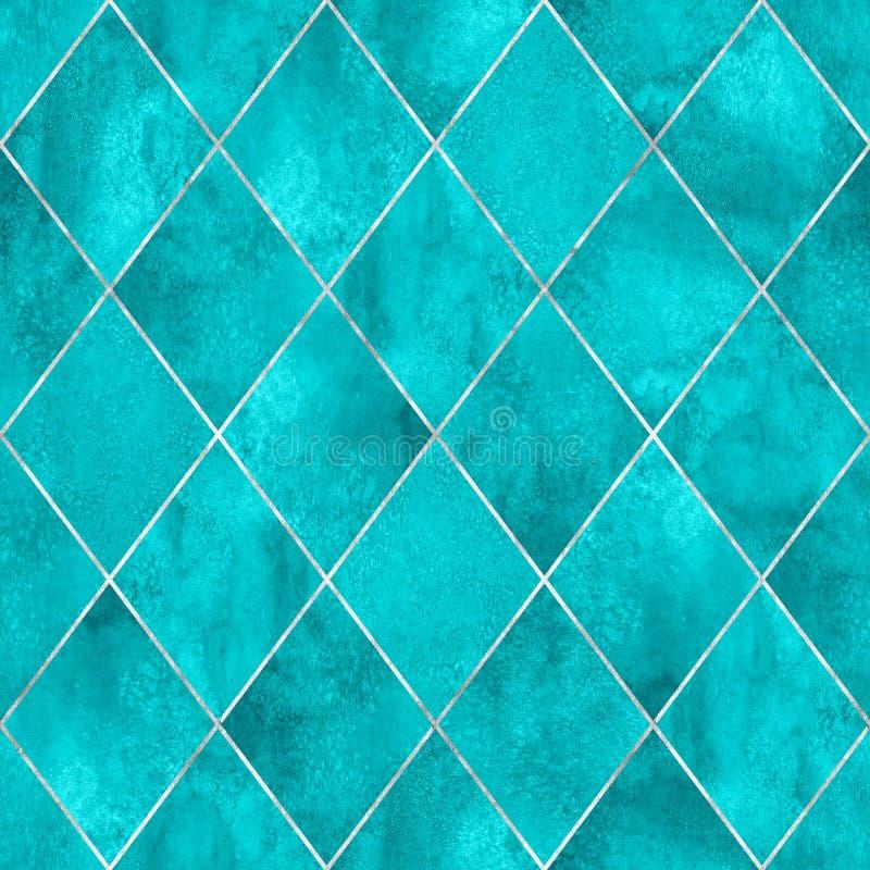 Naadloze het patroontextuur van de Argyle geometrische abstracte waterverf stock foto
