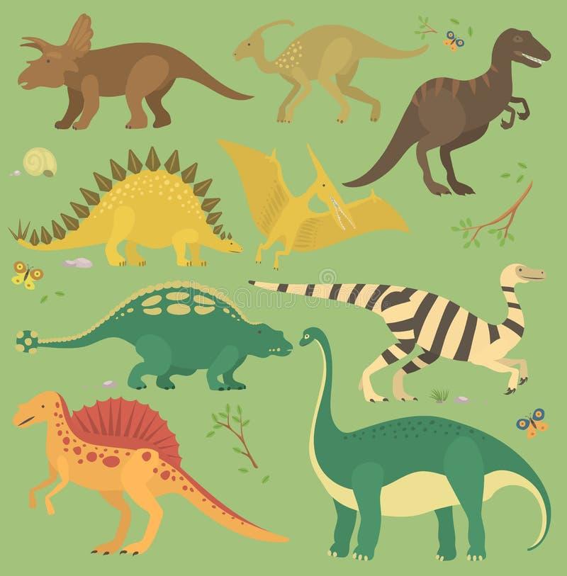 Naadloze het patroonvector van de dinosaurus uitstekende kleur royalty-vrije illustratie