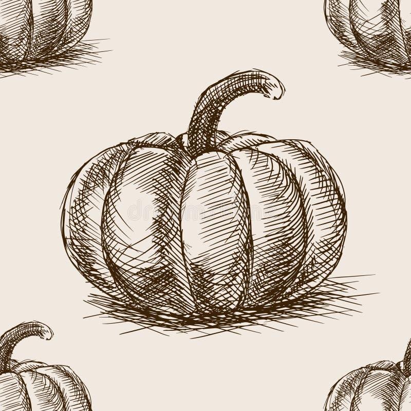 Naadloze het patroonvector van de pompoenhand getrokken schets vector illustratie