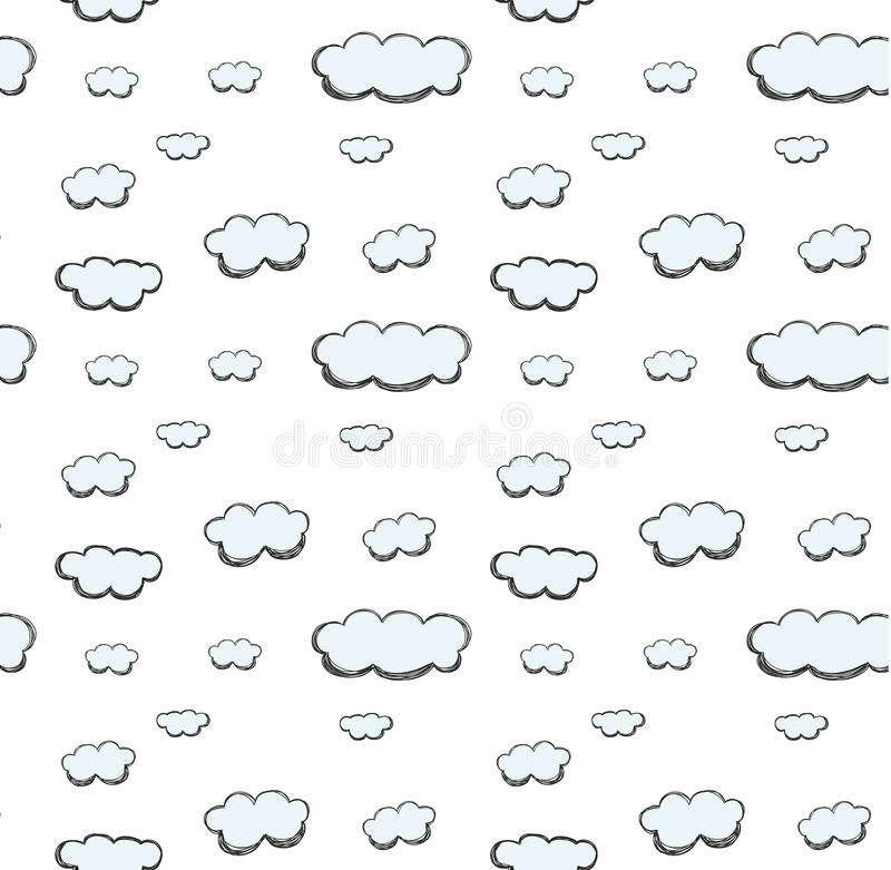 Naadloze het patroonvector van de wolkenhand getrokken leuke pastelkleur stock illustratie
