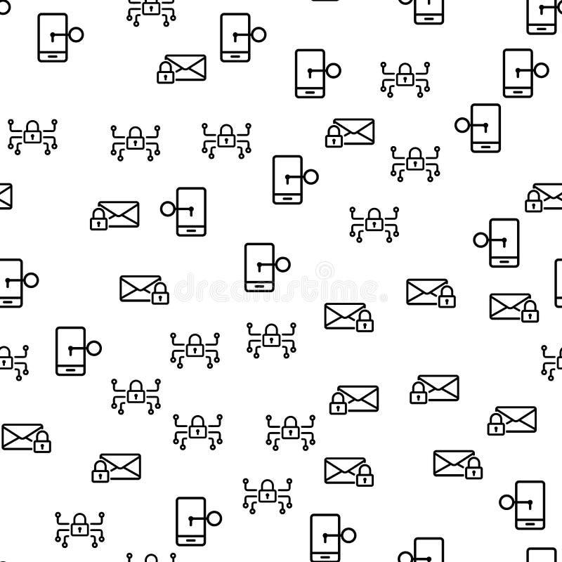 Naadloze het Patroonvector van het veiligheids Mobiele Systeem royalty-vrije illustratie