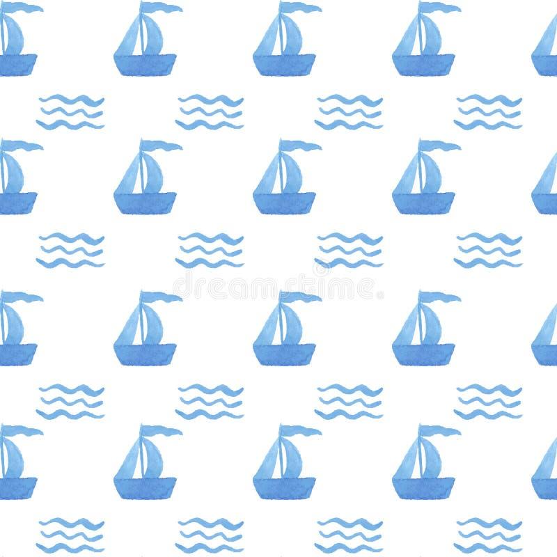 Naadloze het schip van de Handpaintwaterverf vector illustratie