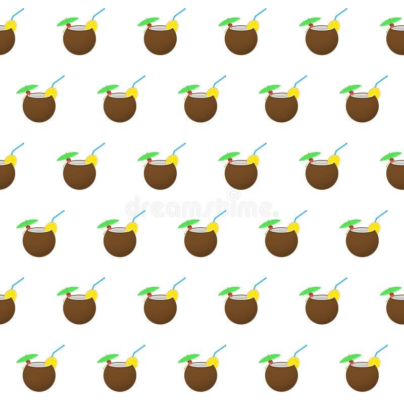 Naadloze het strandcocktail van de patroonzomer op kokosnotenachtergrond met malplaatje in monsters voor uw gemak vector illustratie