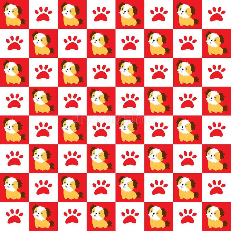 Naadloze hond en klauw royalty-vrije illustratie