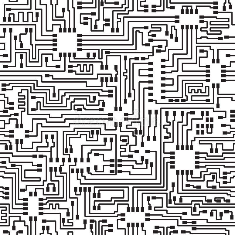 Naadloze hoogte - technologie elektronisch vectorpatroon royalty-vrije illustratie