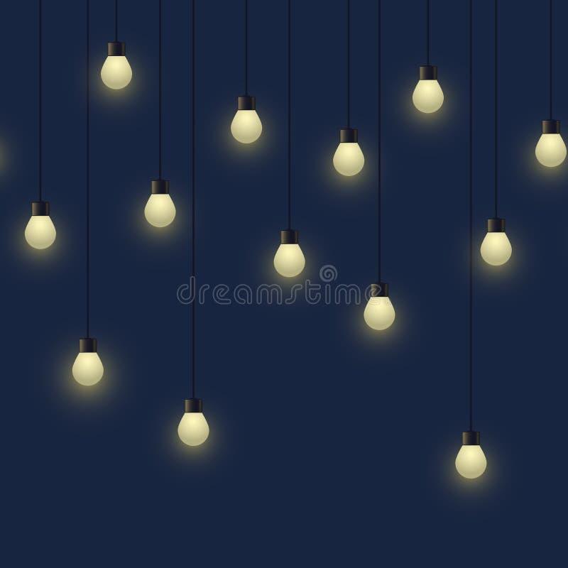 Naadloze horizontale gloeiende bolslinger, decoratieve lichte slinger op donkere lampen als achtergrond, footer en banner, vector royalty-vrije illustratie