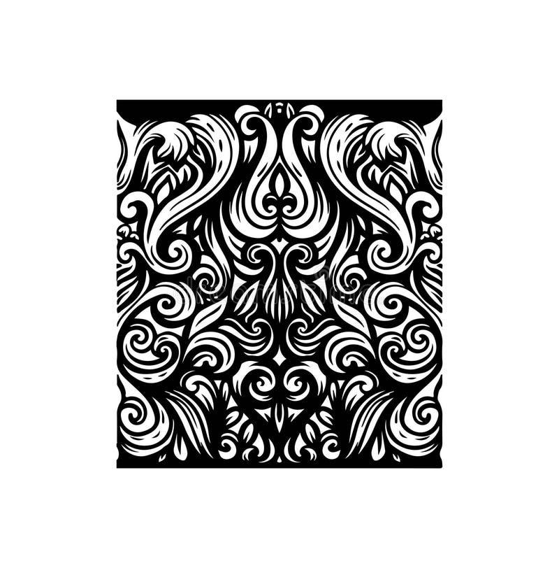 Naadloze horizontale grens Het rijke filigraan gedetailleerde ornament van de lijnkunst vector illustratie