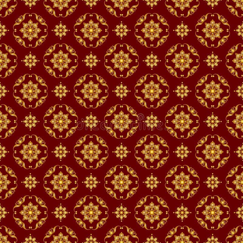 Naadloze illustratie met bloemenpatronen, uitstekende gouden patronen op de achtergrond van Bourgondië vector illustratie