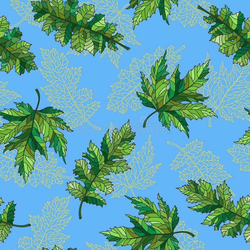 Naadloze illustratie met contour kanten groene bladeren van verschillende bomen op een blauwe achtergrond royalty-vrije illustratie