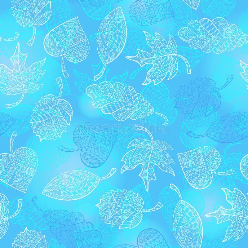 Naadloze illustratie met contour kanten lichte bladeren van verschillende bomen op een blauwe achtergrond royalty-vrije illustratie