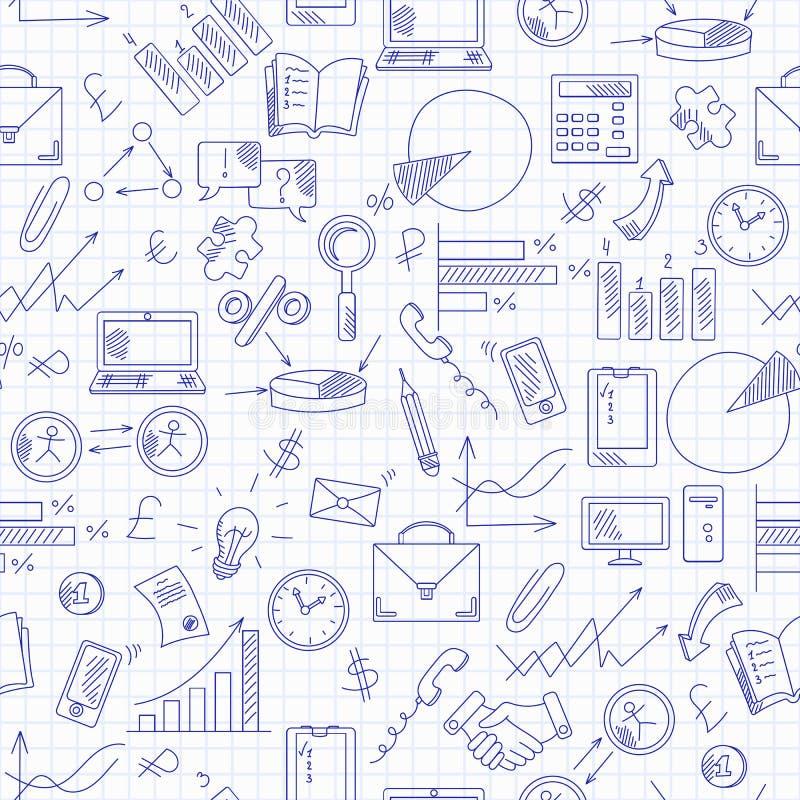 Naadloze illustratie met eenvoudige hand-drawn pictogrammen op themazaken, blauwe contourpictogrammen op het schone schrijven-boe vector illustratie