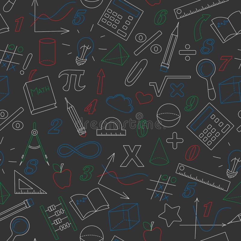 Naadloze illustratie met eenvoudige pictogrammen op het thema van wiskunde en het leren, kleurkrijtje op een donker bord vector illustratie