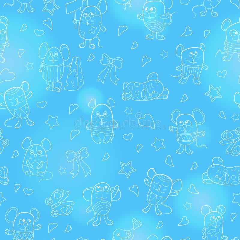Naadloze illustratie met grappige beeldverhaalcontour mouses, het witte overzicht op een blauwe achtergrond vector illustratie