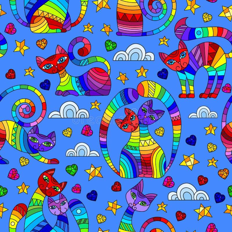 Naadloze illustratie met heldere abstracte katten, sterren en harten, kleurentekeningen op blauwe achtergrond vector illustratie