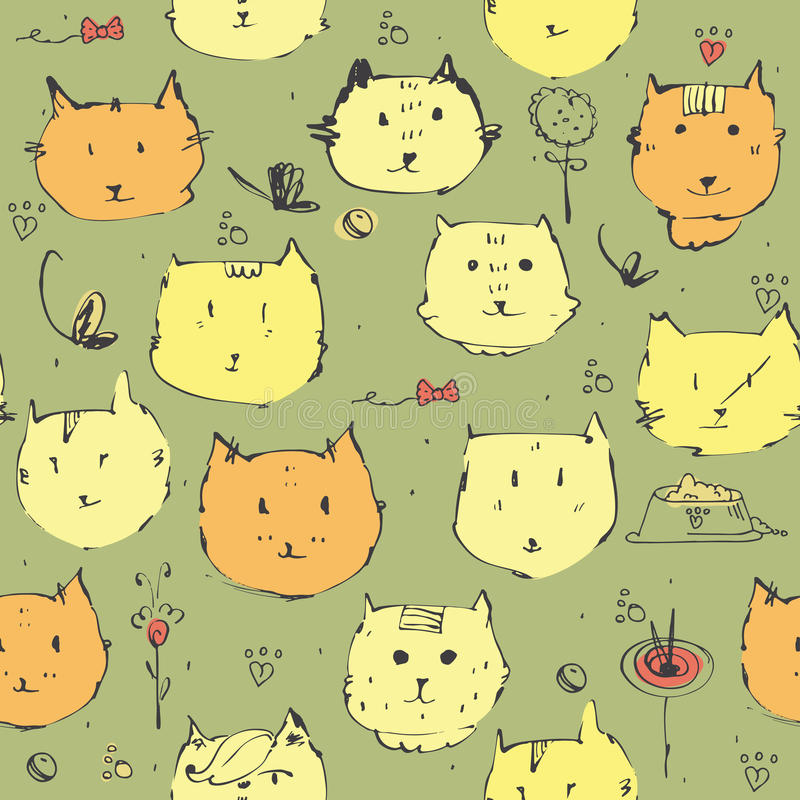 Naadloze illustratie met mooie leuke kattenhoofden en toebehoren op groene achtergrond Patroonhand met inkt en colo wordt getrokk royalty-vrije illustratie