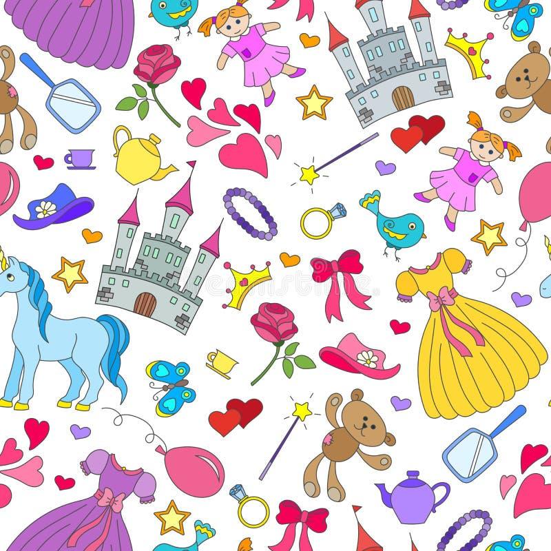 Naadloze illustratie op het thema van de meisjes van de Hobbysbaby, en speelgoedpictogrammen op witte achtergrond vector illustratie